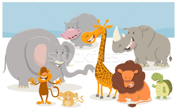safari cartoon animal characters Stock photo © izakowski