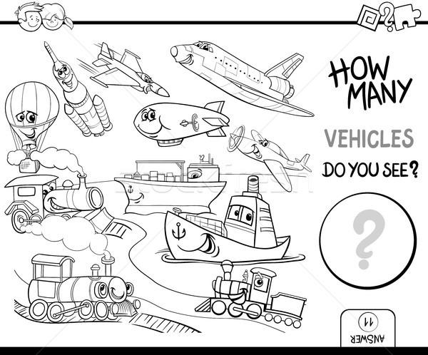 Zdjęcia stock: Pojazdy · kolorowanka · czarno · białe · cartoon · ilustracja