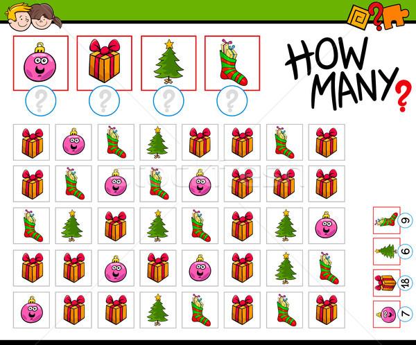 how many Christmas objects cartoon game Stock photo © izakowski