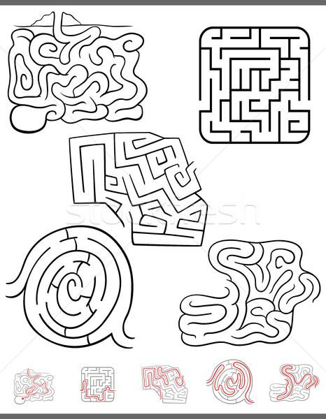 maze leisure game set with solutions Stock photo © izakowski