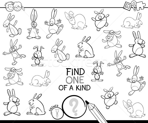 one of a kind game with rabbits coloring book Stock photo © izakowski