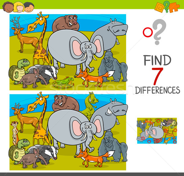 find differences game with wild animal characters Stock photo © izakowski