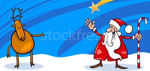 Santa and Reindeer cartoon card Stock photo © izakowski