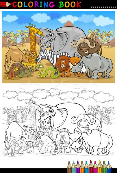 Stock photo: safari wild animals cartoon for coloring book
