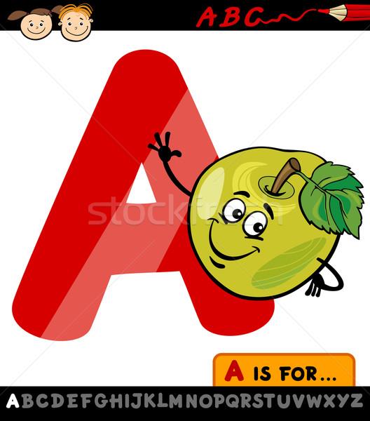 letter a with apple cartoon illustration Stock photo © izakowski
