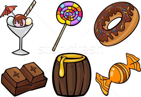 сладкие блюда объекты Cartoon иллюстрация набор кондитерские изделия Сток-фото © izakowski