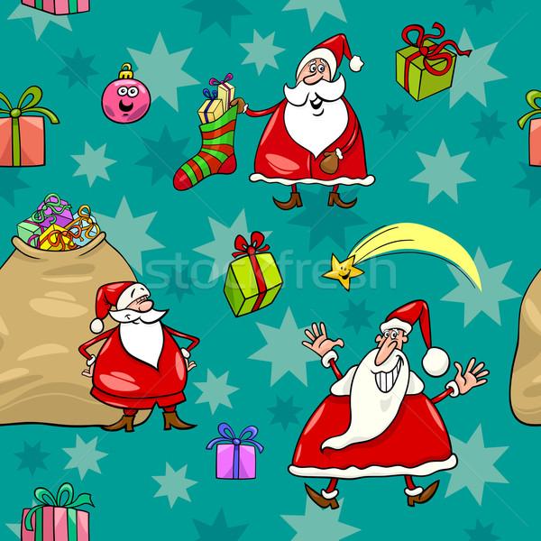 christmas cartoon seamless pattern wrapper Stock photo © izakowski