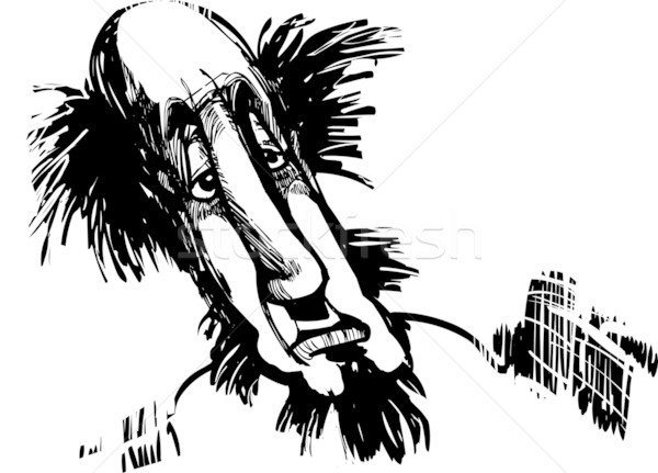 Caricatura hombre dibujo ilustración centro edad Foto stock © izakowski