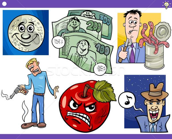 ストックフォト: 漫画 · ことわざ · セット · 実例 · ユーモラス
