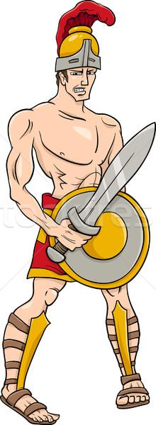 greek god ares cartoon illustration Stock photo © izakowski