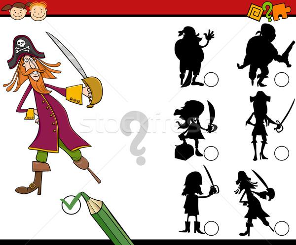 Educação sombras jogo desenho animado ilustração sombra Foto stock © izakowski