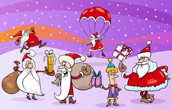 Cartoon groep illustratie kerstman Stockfoto © izakowski