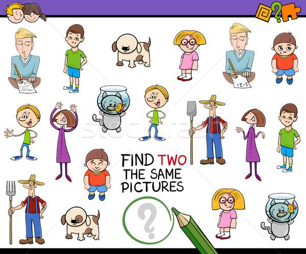 Talál azonos képek játék rajz illusztráció Stock fotó © izakowski