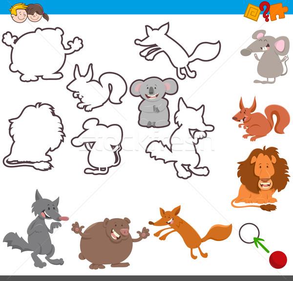 Oktatási tevékenység aranyos állatok rajz illusztráció játék Stock fotó © izakowski