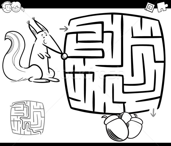 maze with squirrel coloring page Stock photo © izakowski