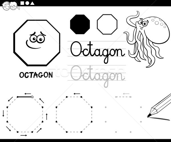 octagon basic geometric shapes coloring page Stock photo © izakowski