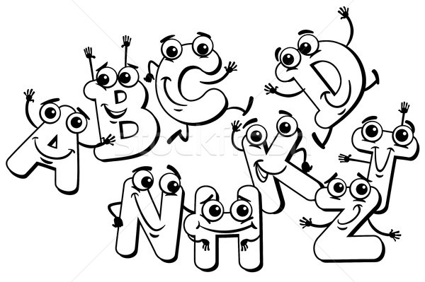 funny cartoon letter characters coloring book Stock photo © izakowski