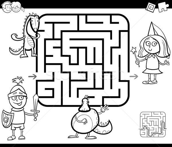 Labirintus tevékenység játék fantázia betűk feketefehér Stock fotó © izakowski