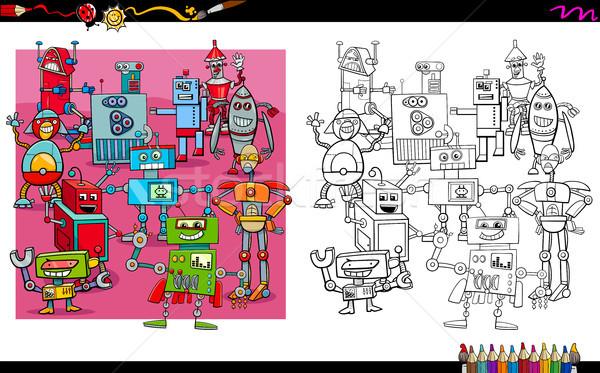 Stok fotoğraf: Robot · grup · boyama · kitabı · karikatür · örnek