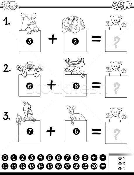 Educativo juego libro para colorear blanco negro Cartoon ilustración Foto stock © izakowski