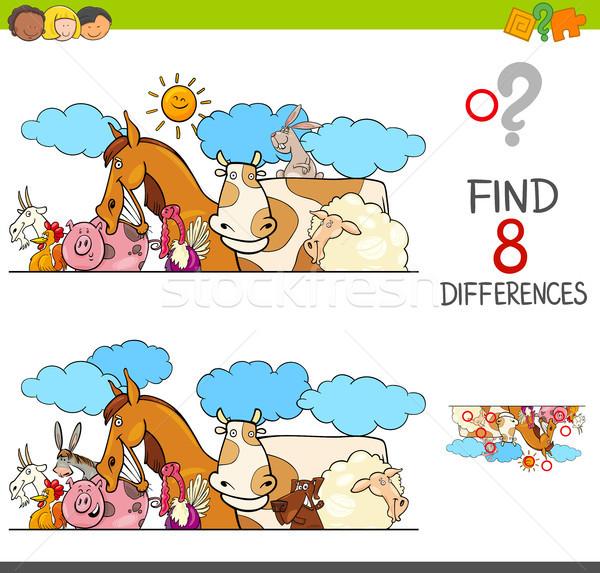 differences game with farm animals group Stock photo © izakowski