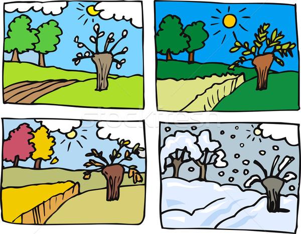 Négy évszak rajz illusztráció vidéki táj tavasz nyár Stock fotó © izakowski