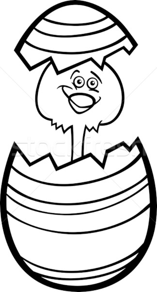 chicken in easter egg cartoon for coloring Stock photo © izakowski