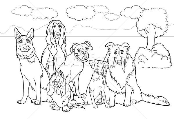 Stockfoto: Honden · cartoon · kleurboek · zwart · wit · illustratie