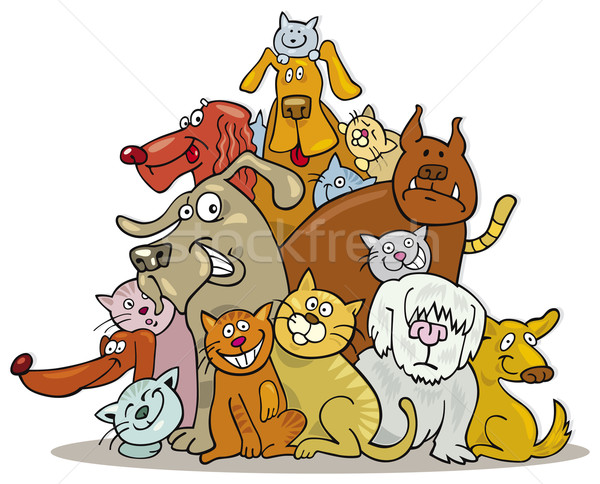 Cats and Dogs group Stock photo © izakowski