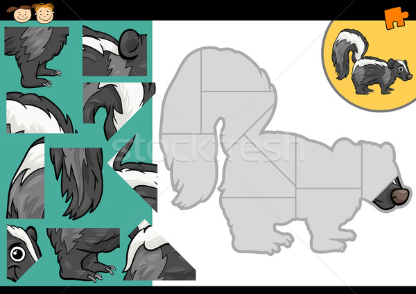 cartoon skunk jigsaw puzzle game Stock photo © izakowski