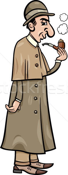 retro detective cartoon illustration Stock photo © izakowski