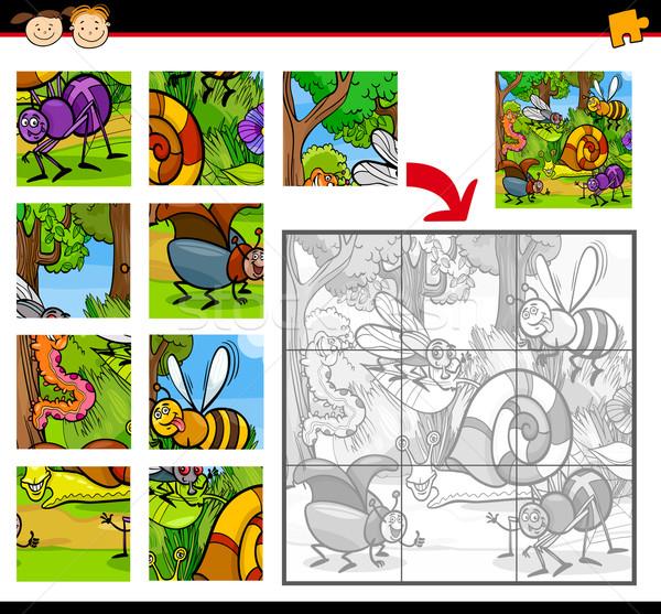 Cartoon insectos rompecabezas juego ilustración educación Foto stock © izakowski