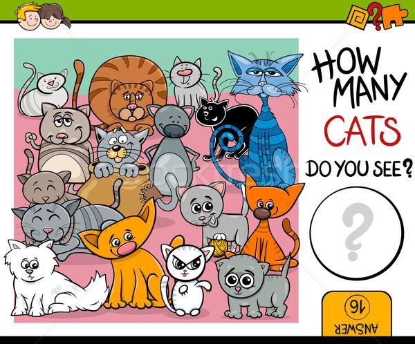 Macskák feladat gyerekek rajz illusztráció oktatási Stock fotó © izakowski