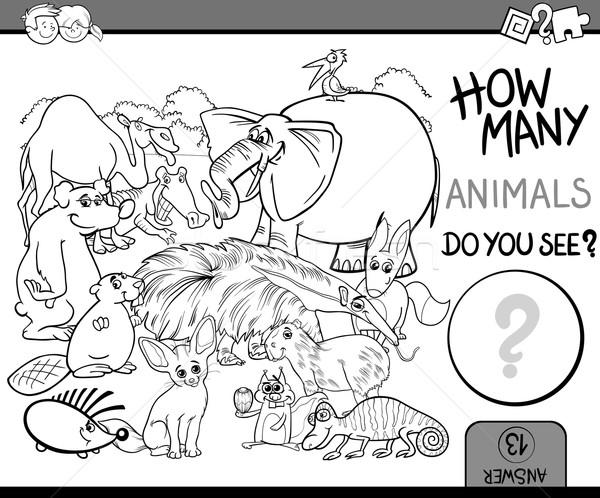 count the animals coloring book Stock photo © izakowski