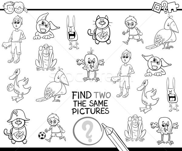 Talál képek oldal feketefehér rajz illusztráció Stock fotó © izakowski