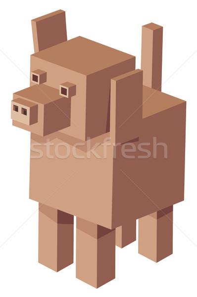 cubical dog cartoon character Stock photo © izakowski