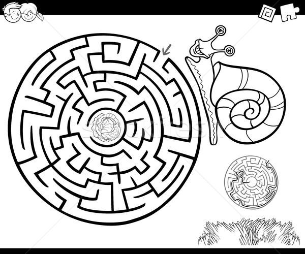 Сток-фото: лабиринт · улитки · Cartoon · иллюстрация · образование · лабиринт