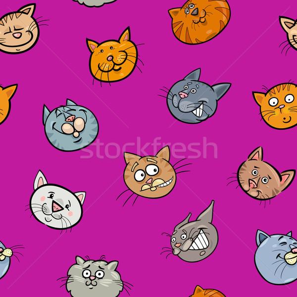 Foto stock: Desenho · animado · papel · de · parede · gatos · ilustração · gato