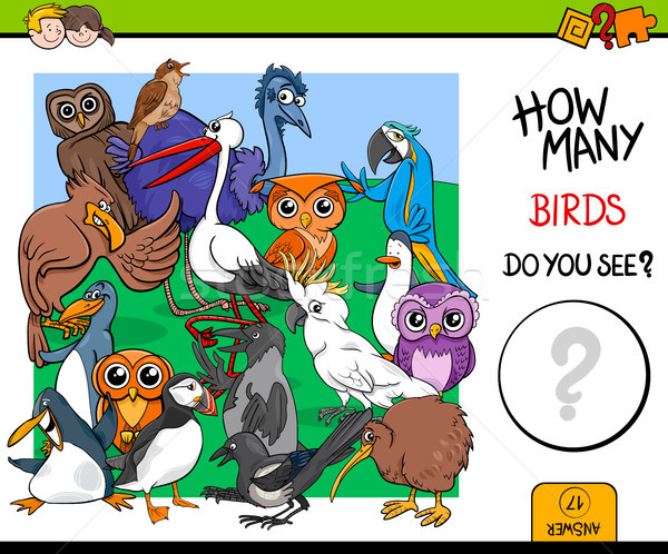 counting birds educational game for kids Stock photo © izakowski