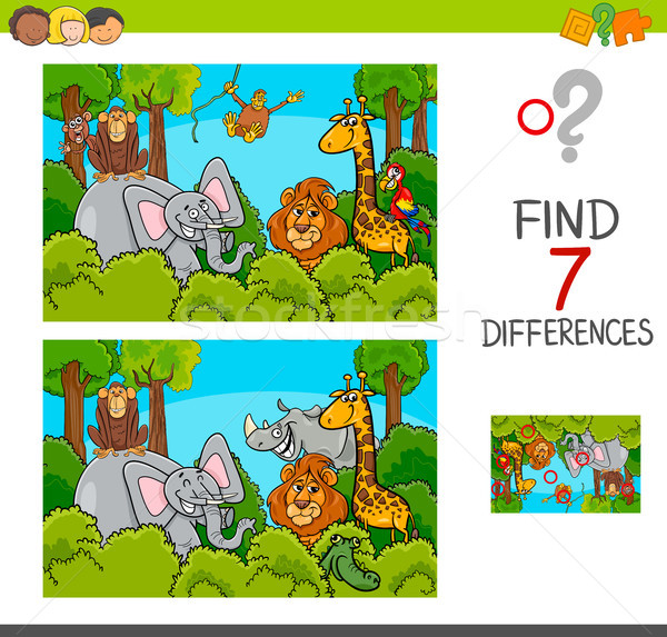 Stock photo: spot the differences game with wild animals