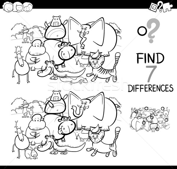 spot the difference with animals coloring book Stock photo © izakowski