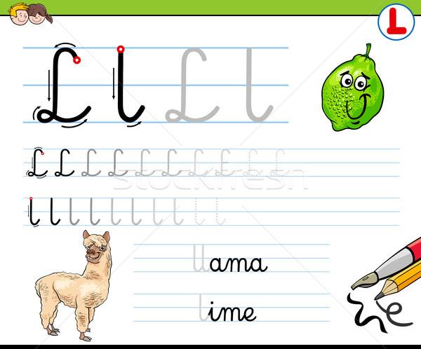 how to write letter L worksheet for kids Stock photo © izakowski