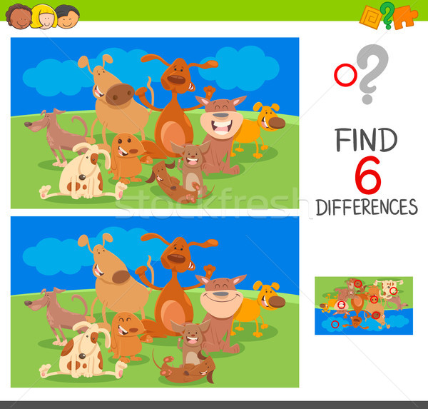 spot the differences with dog animal characters Stock photo © izakowski