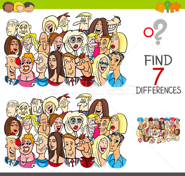 find differences game with people characters Stock photo © izakowski