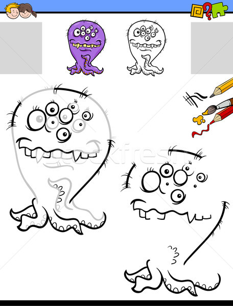 drawing and coloring worksheet with funny monster Stock photo © izakowski