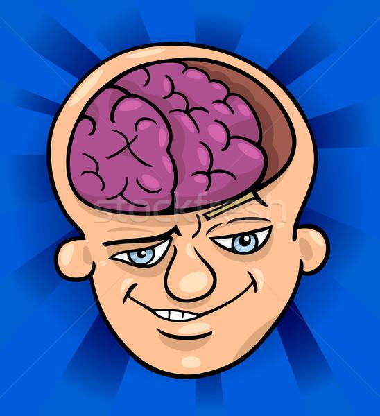 brainy man cartoon illustration Stock photo © izakowski