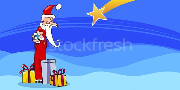 Santa Claus with presents cartoon card Stock photo © izakowski