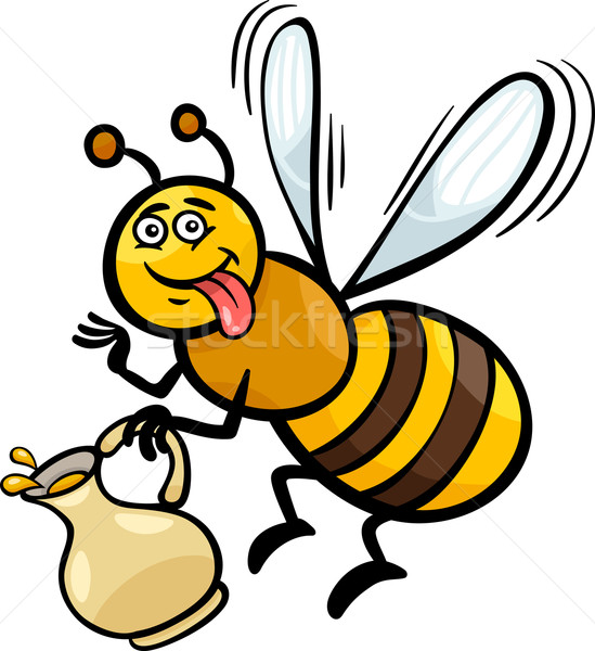 Honingbij insect cartoon illustratie grappig bee Stockfoto © izakowski