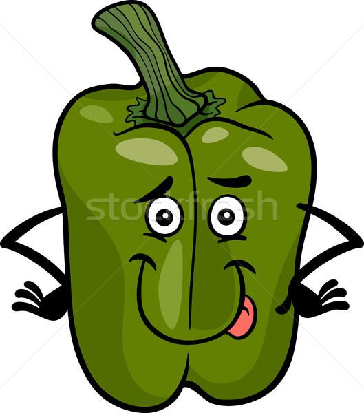 cute green pepper cartoon illustration Stock photo © izakowski