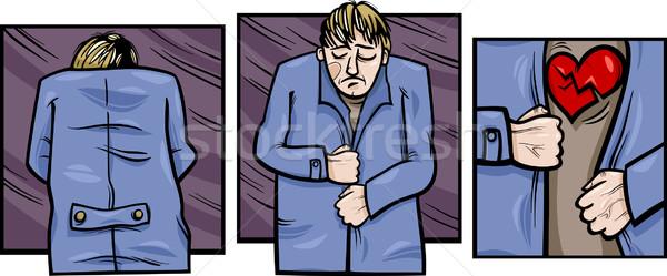 sad man with broken heart comics Stock photo © izakowski